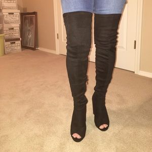 Over the knee open toed heeled boots